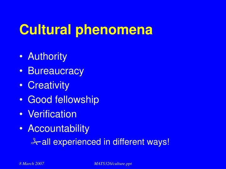 Cultural phenomena