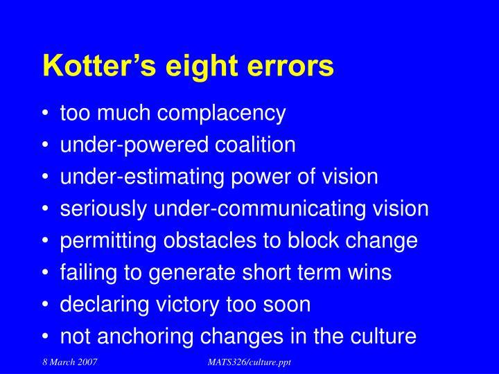 Kotter's eight errors