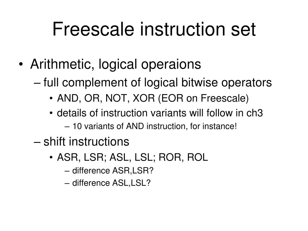 Freescale instruction set