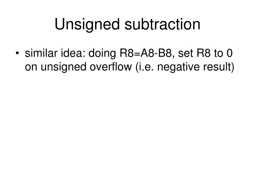 Unsigned subtraction
