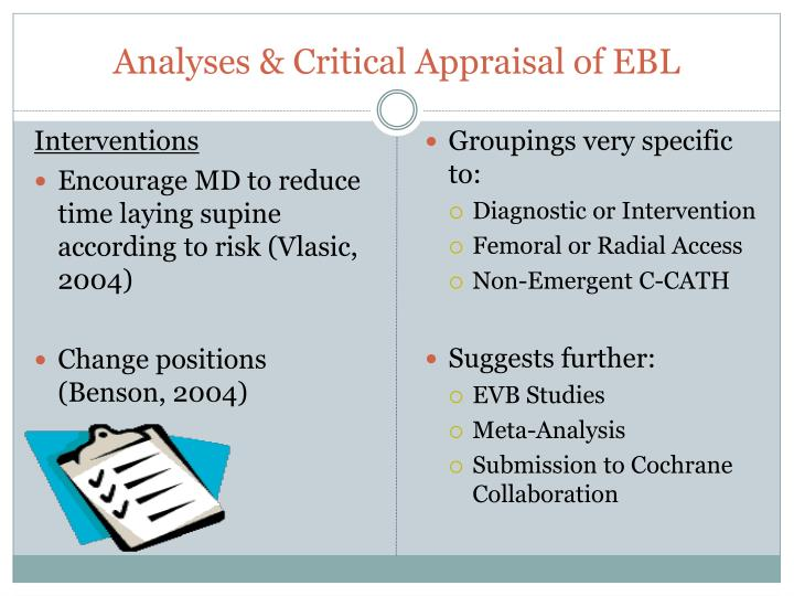 Analyses & Critical Appraisal of EBL