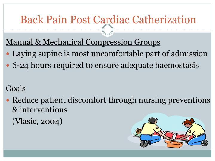 Back Pain Post Cardiac Catherization