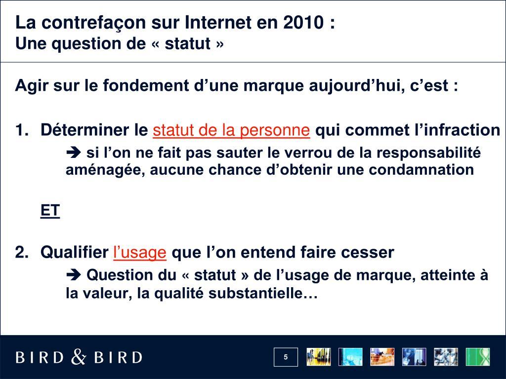 La contrefaçon sur Interneten 2010 :