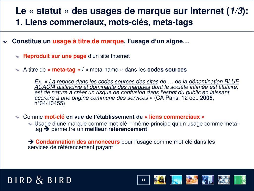 Le «statut» des usages de marquesur Internet (