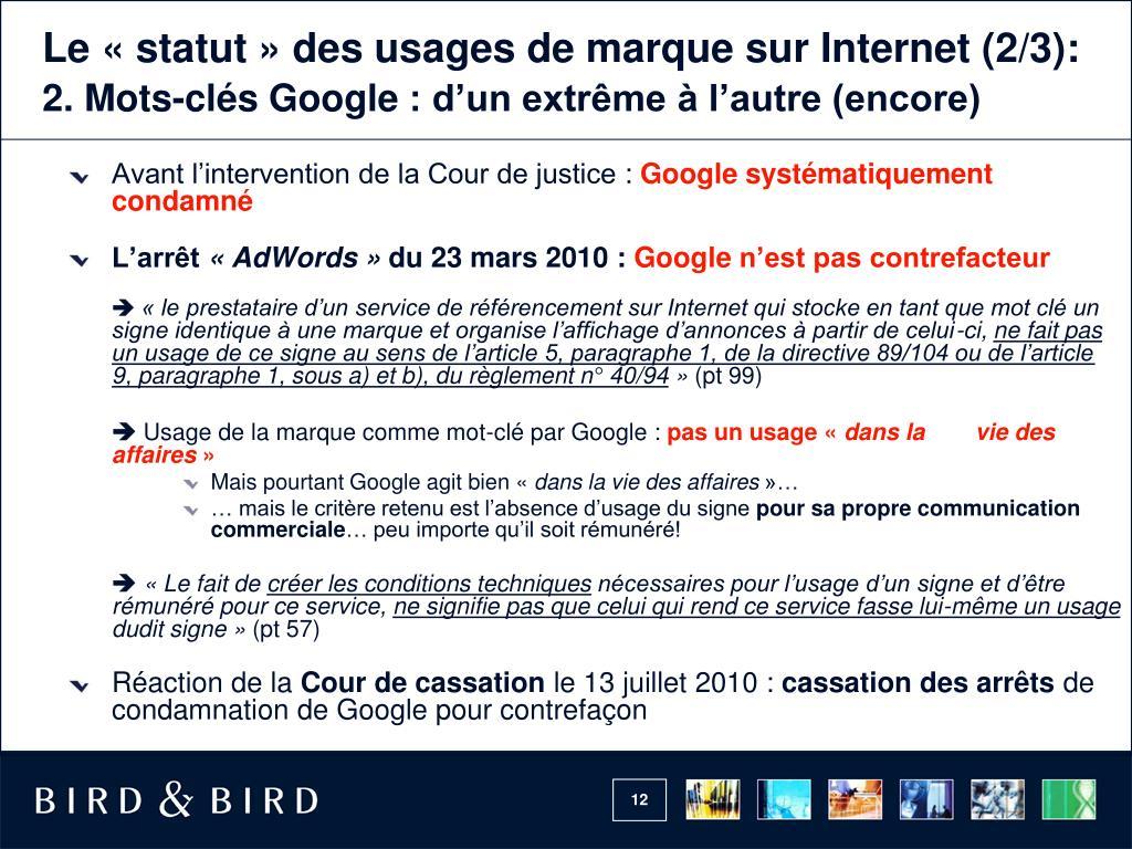 Le «statut» des usages de marquesur Internet (2/3):