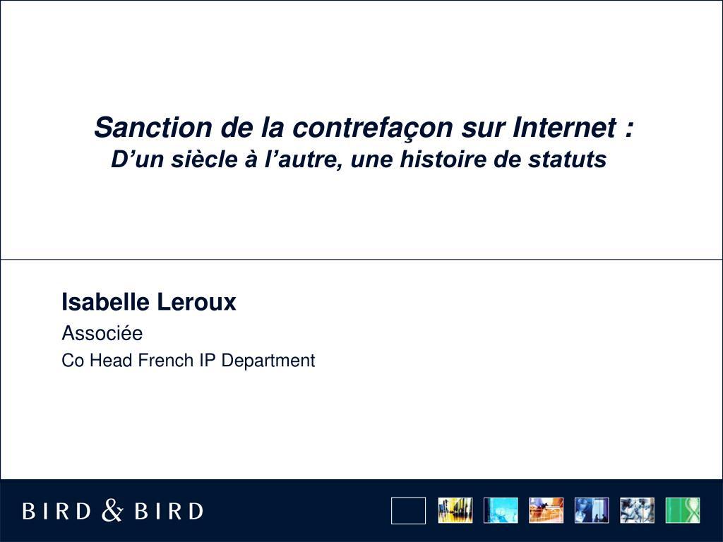 Sanction de la contrefaçon sur Internet: