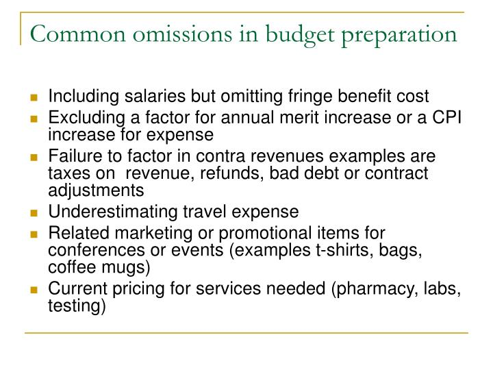 Common omissions in budget preparation