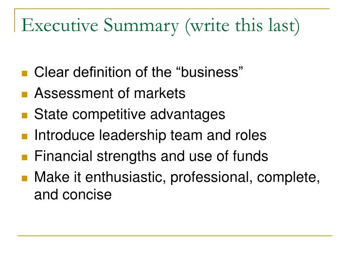 Executive Summary (write this last)