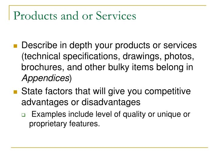 Products and or Services