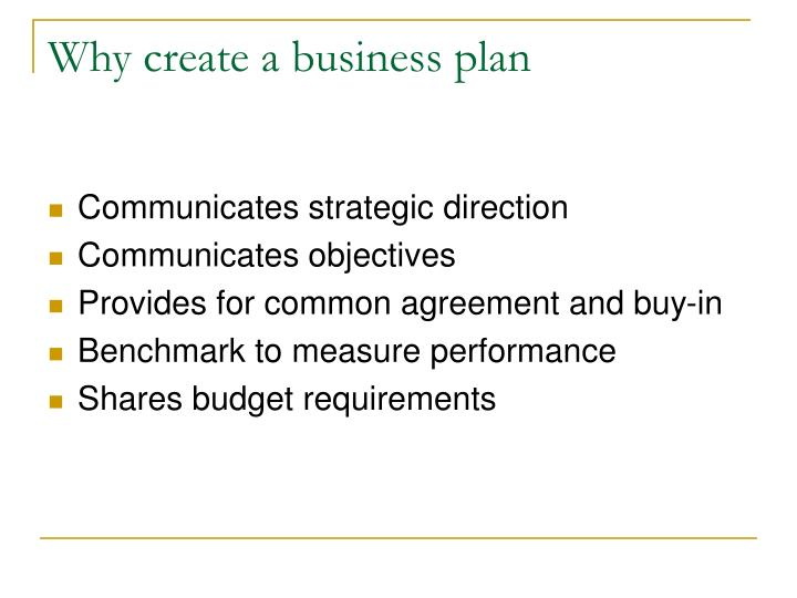 Why create a business plan