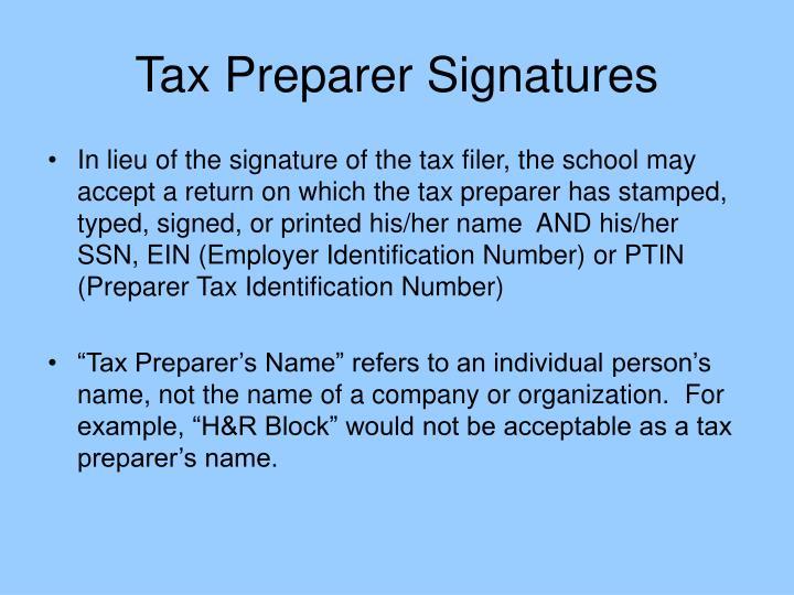 Tax Preparer Signatures