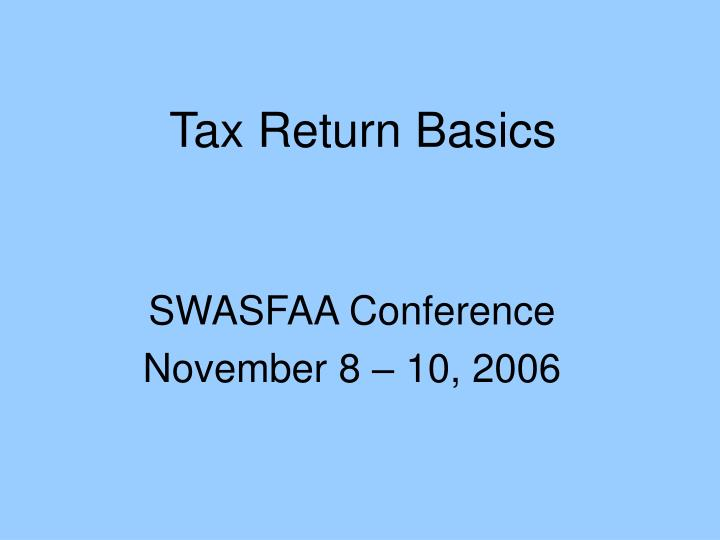 Tax return basics