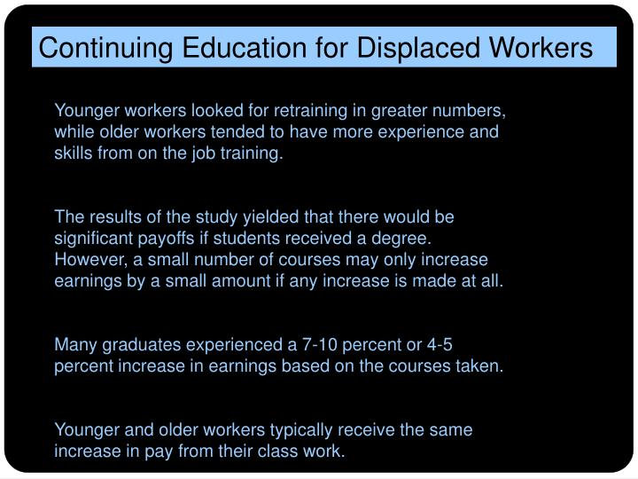 Continuing Education for Displaced Workers