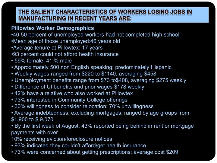 The salient characteristics of workers losing jobs in manufacturing in recent years are: