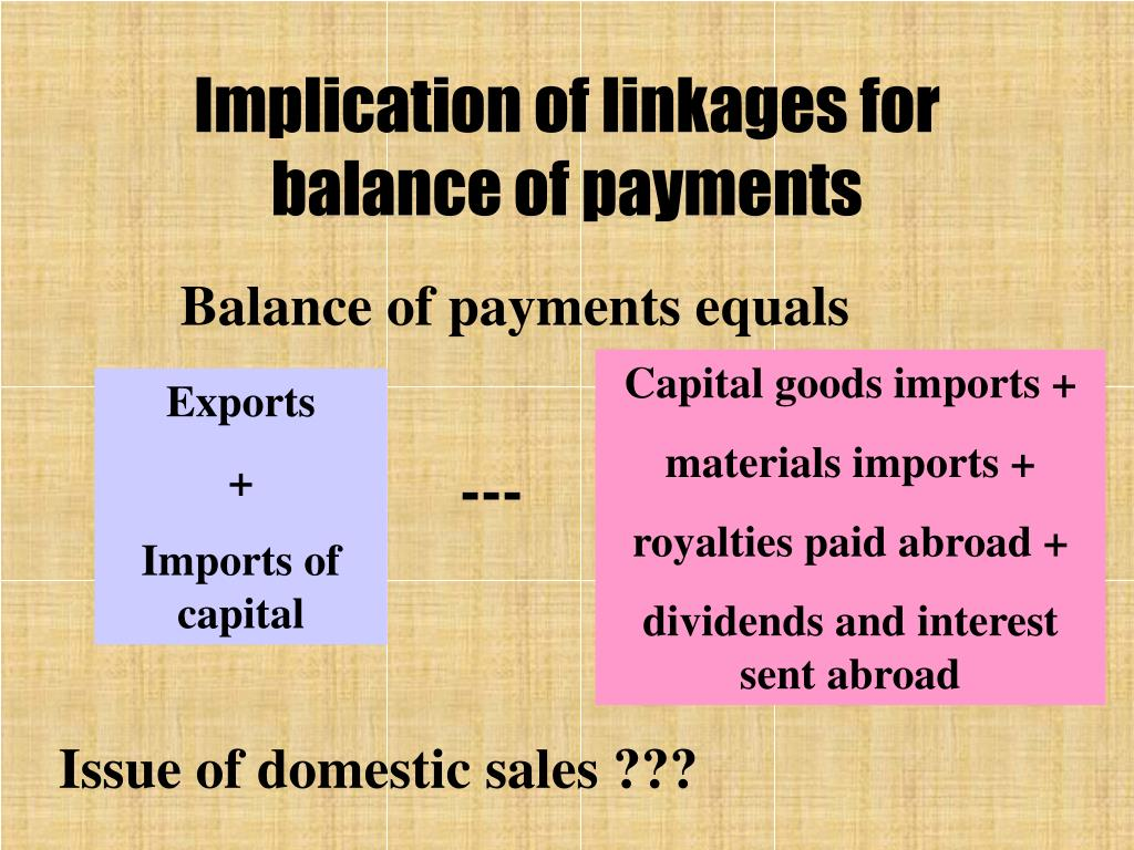 Implication of linkages for balance of payments