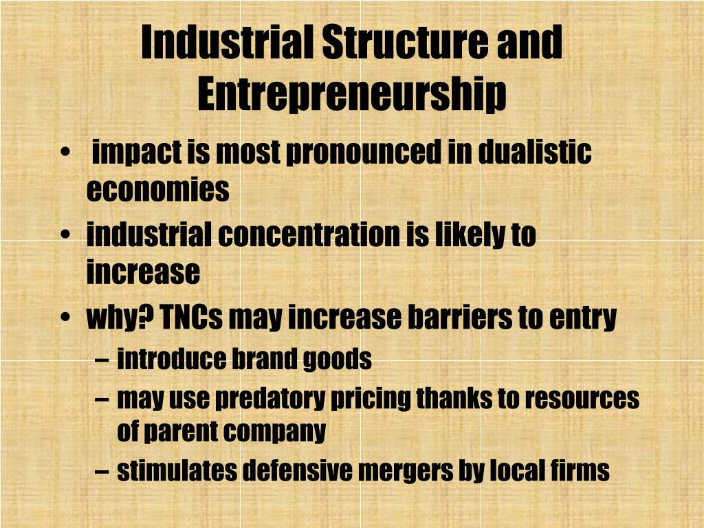 Industrial Structure and Entrepreneurship