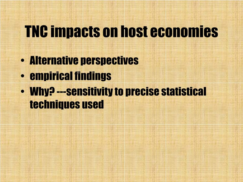 TNC impacts on host economies