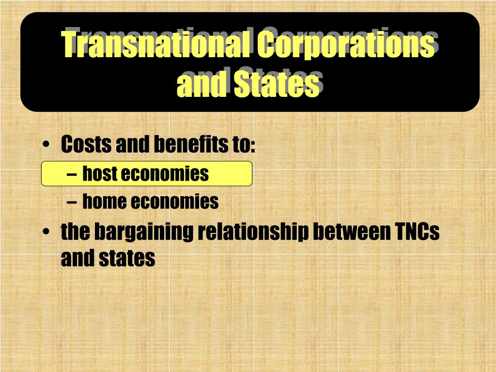 Transnational Corporations and States