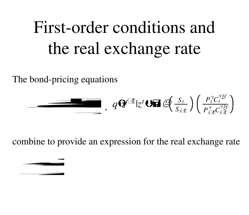First-order conditions and the real exchange rate