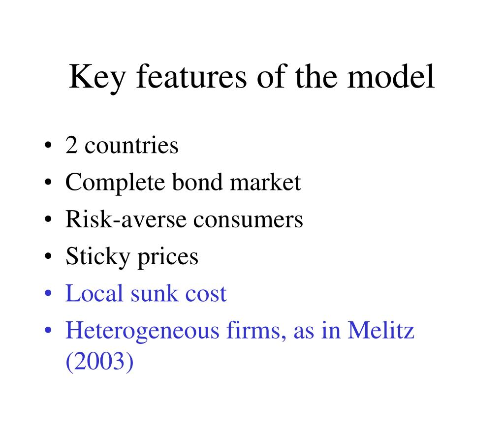 Key features of the model