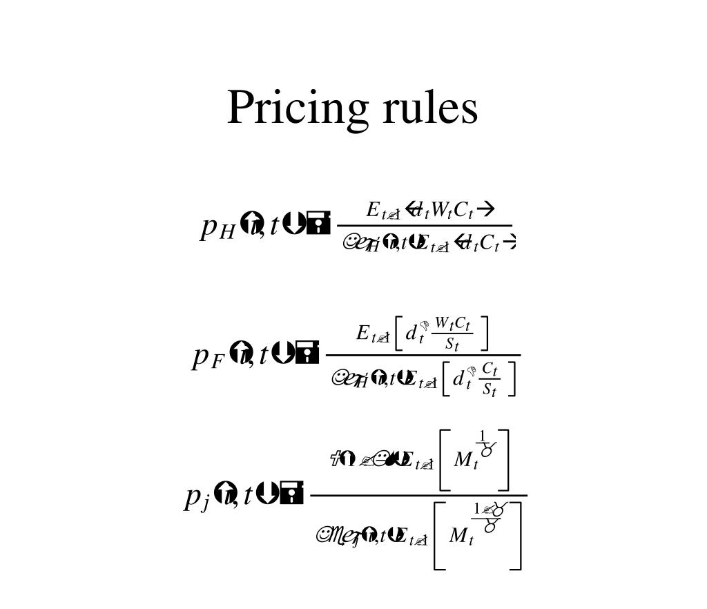 Pricing rules
