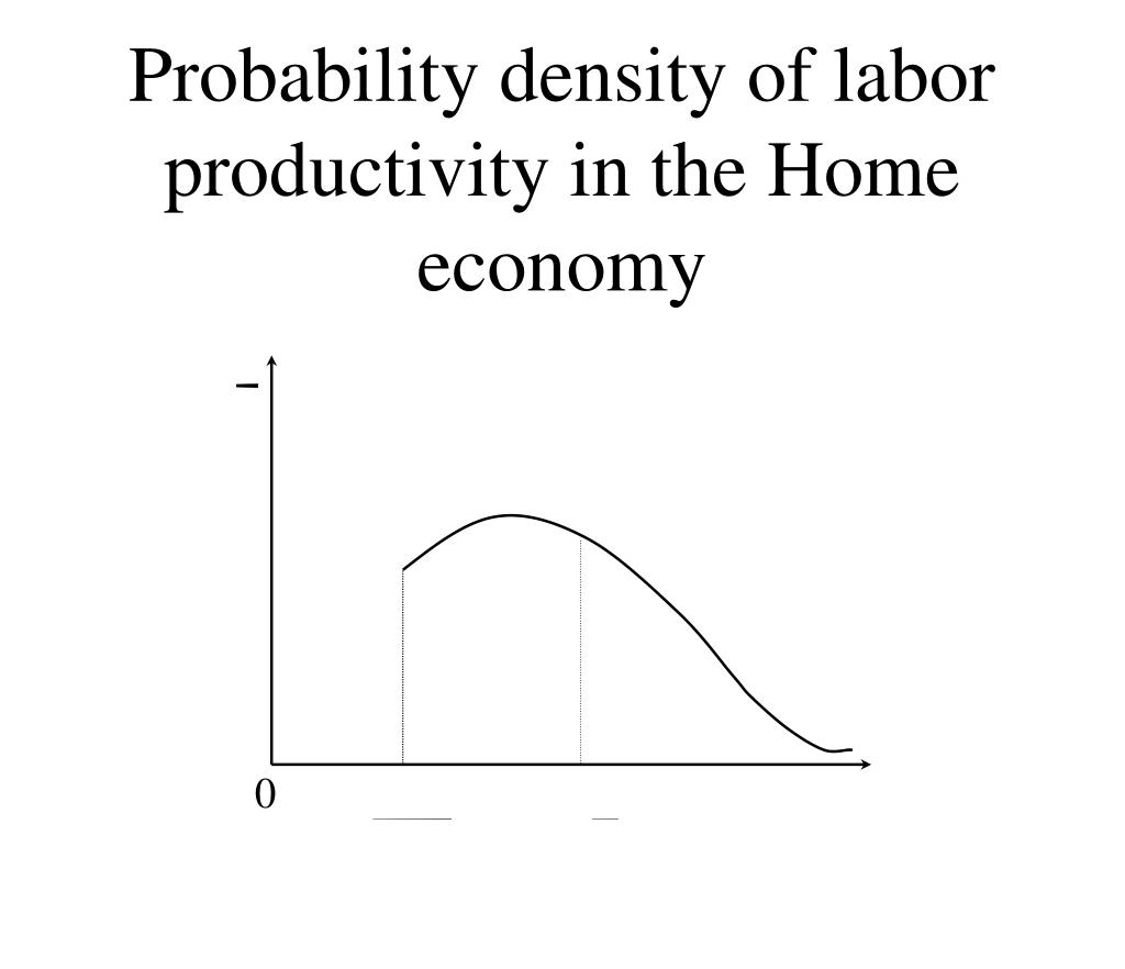Probability density of labor productivity in the Home economy