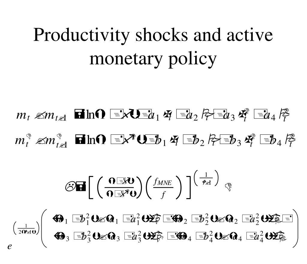 Productivity shocks and active monetary policy