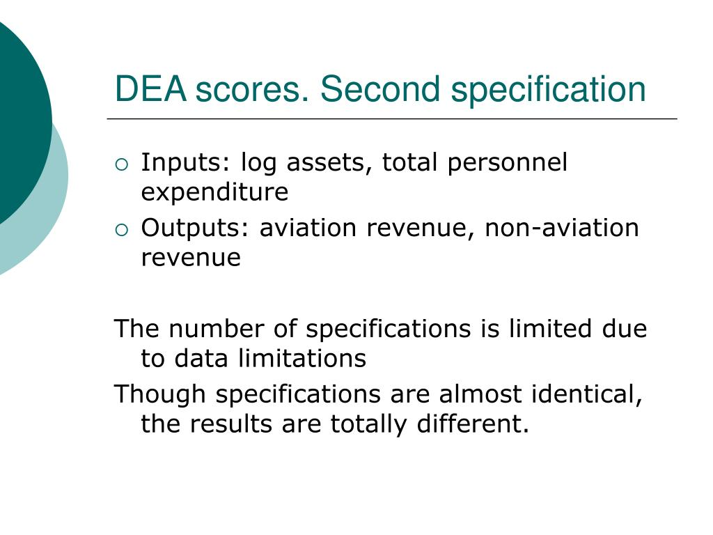DEA scores. Second specification