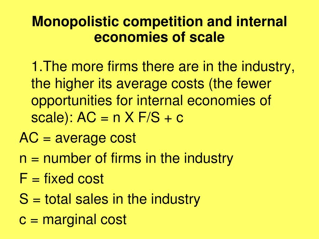 Monopolistic competition and internal economies of scale