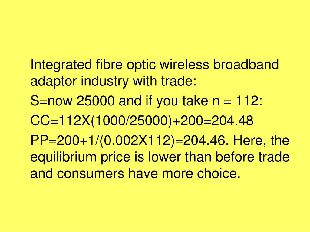 Integrated fibre optic wireless broadband adaptor industry with trade: