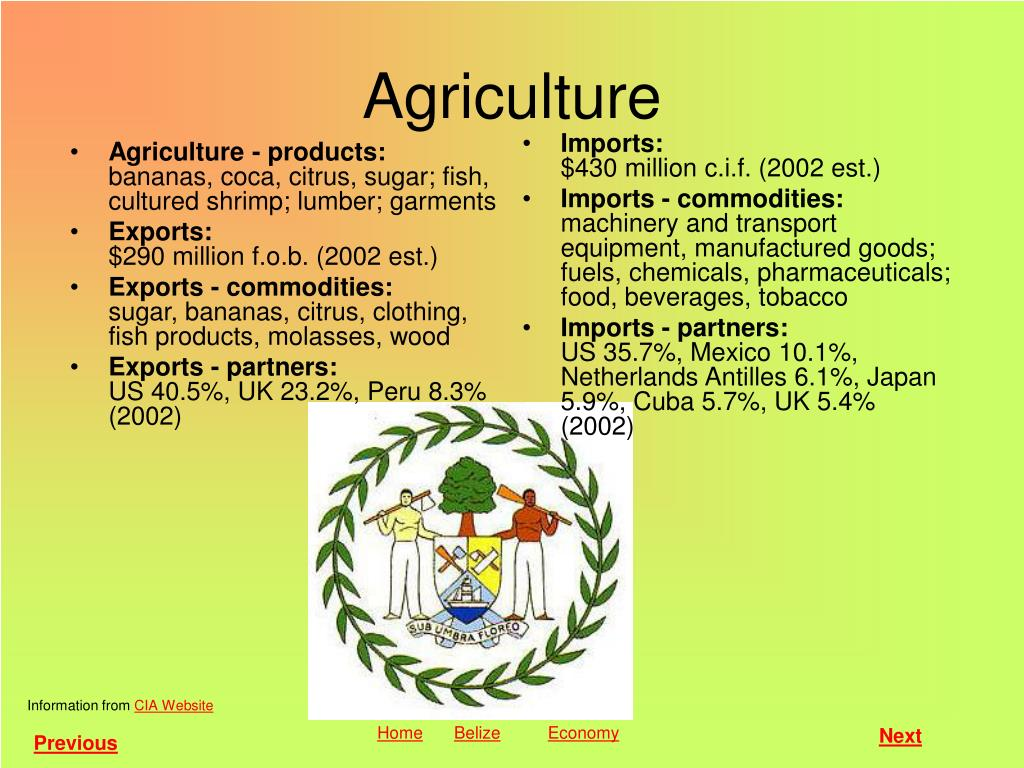 Agriculture - products: