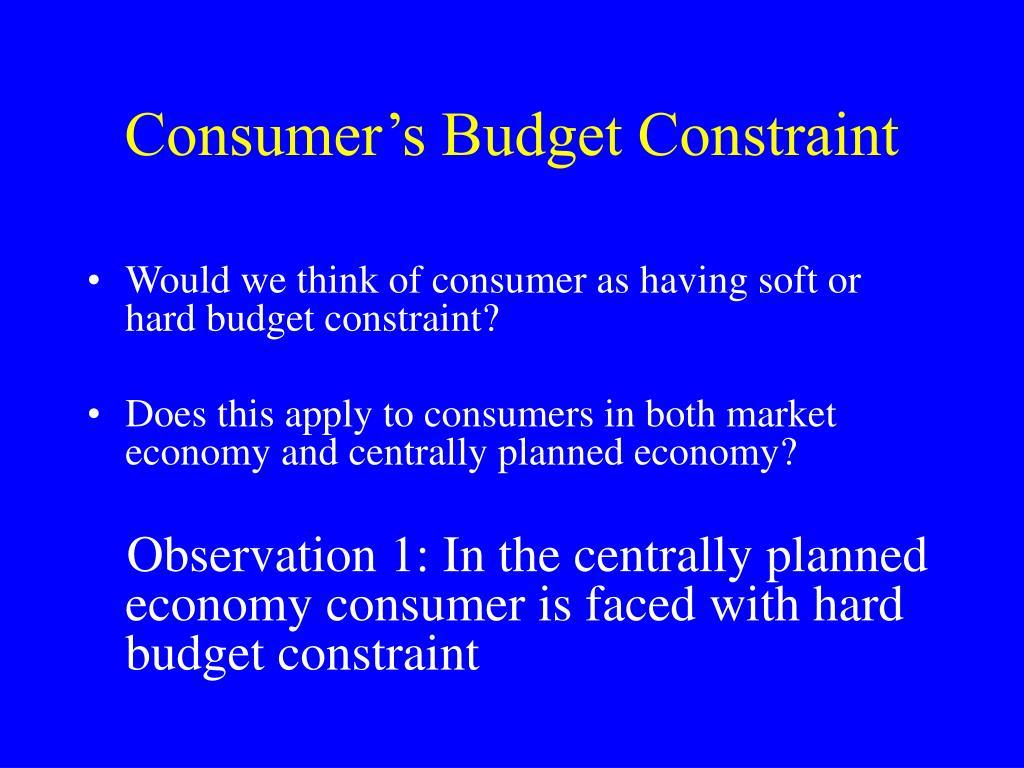 Consumer's Budget Constraint