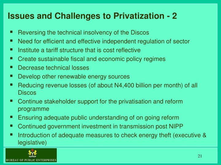 Issues and Challenges to Privatization - 2