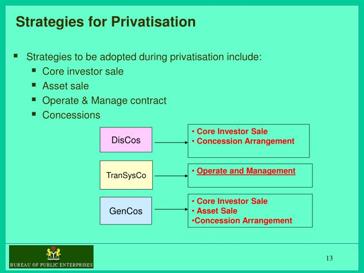 Strategies for Privatisation