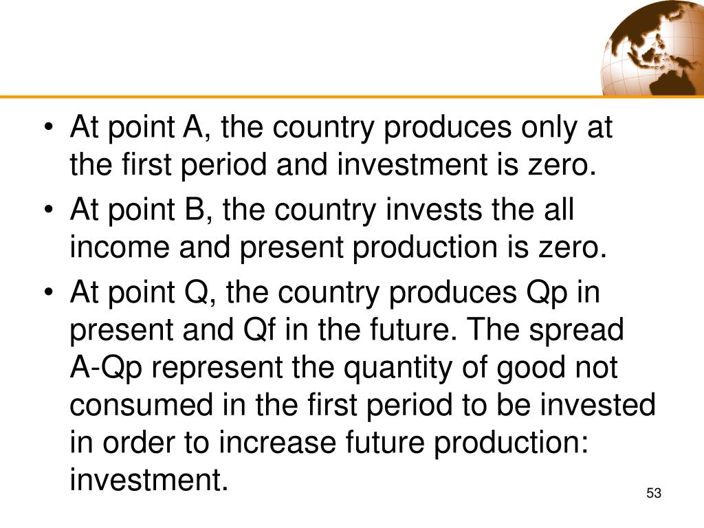 At point A, the country produces only at the first period and investment is zero.