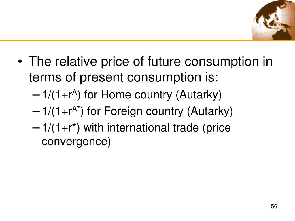 The relative price of future consumption in terms of present consumption is: