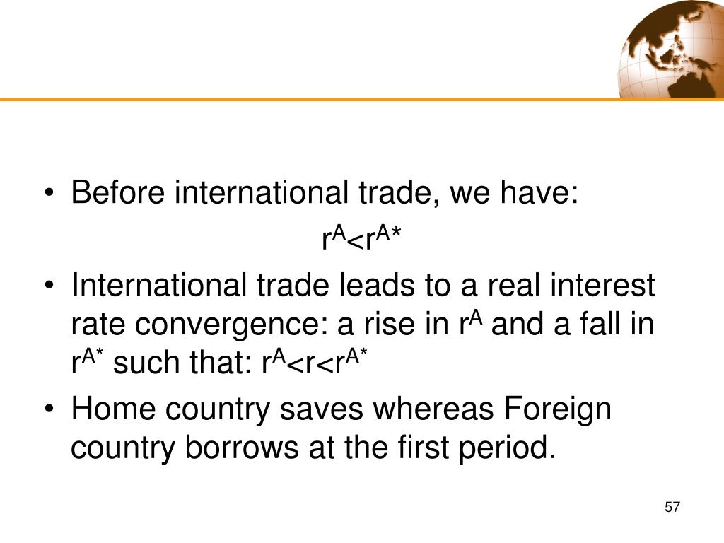 Before international trade, we have: