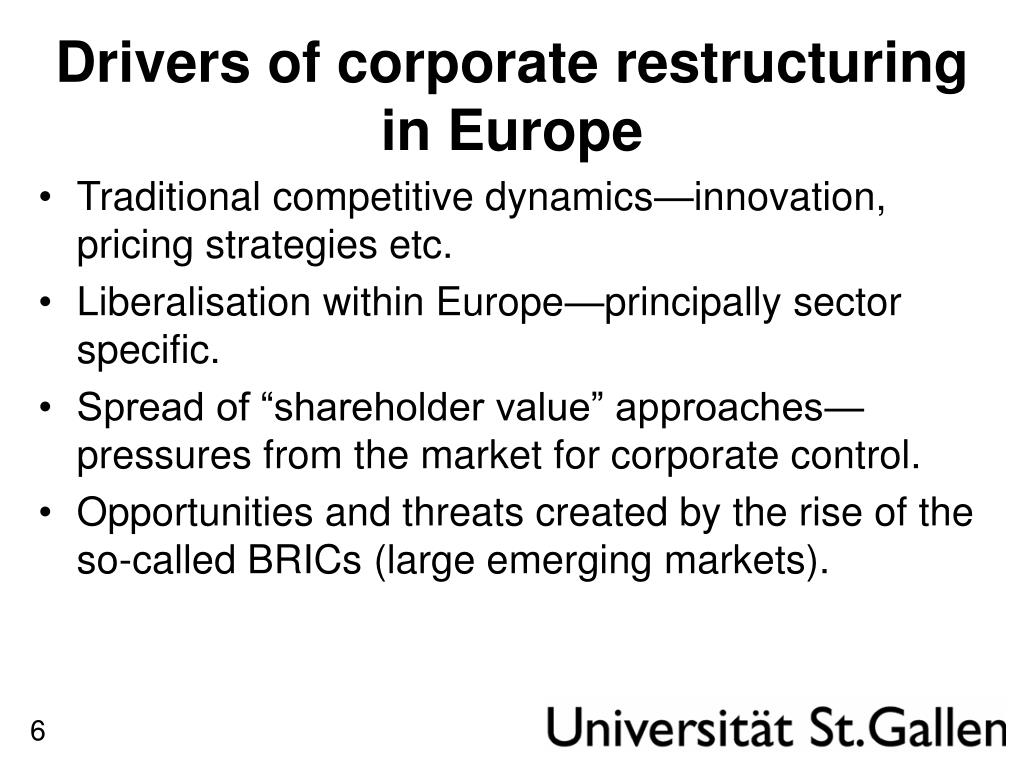 Drivers of corporate restructuring in Europe