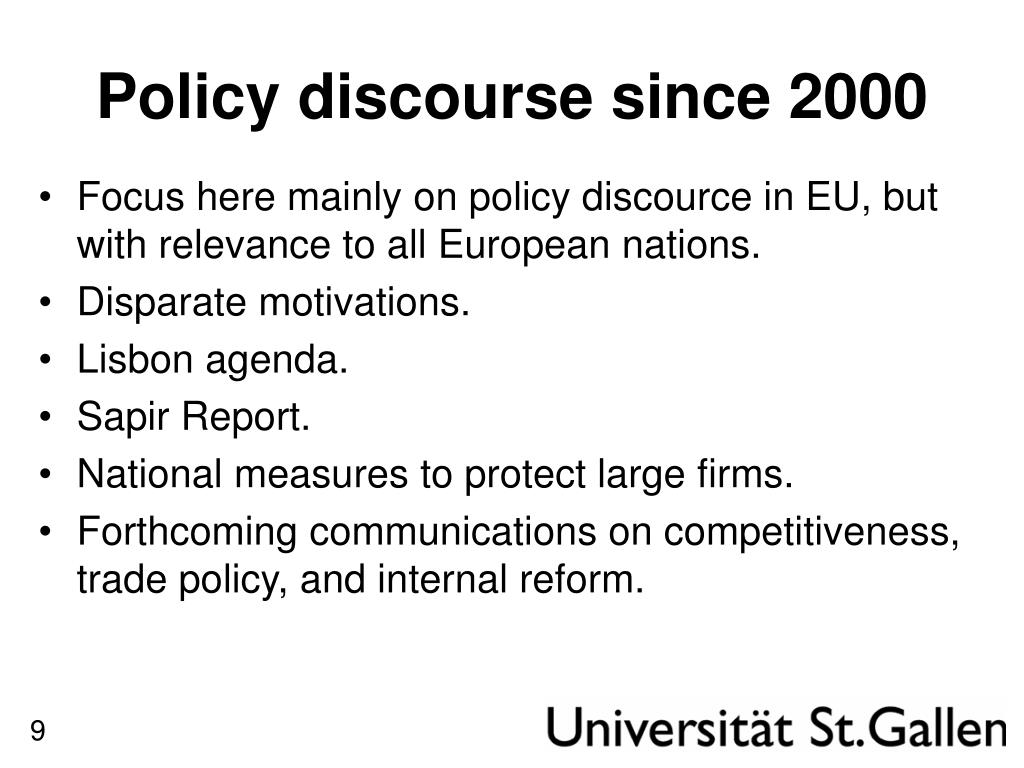 Policy discourse since 2000