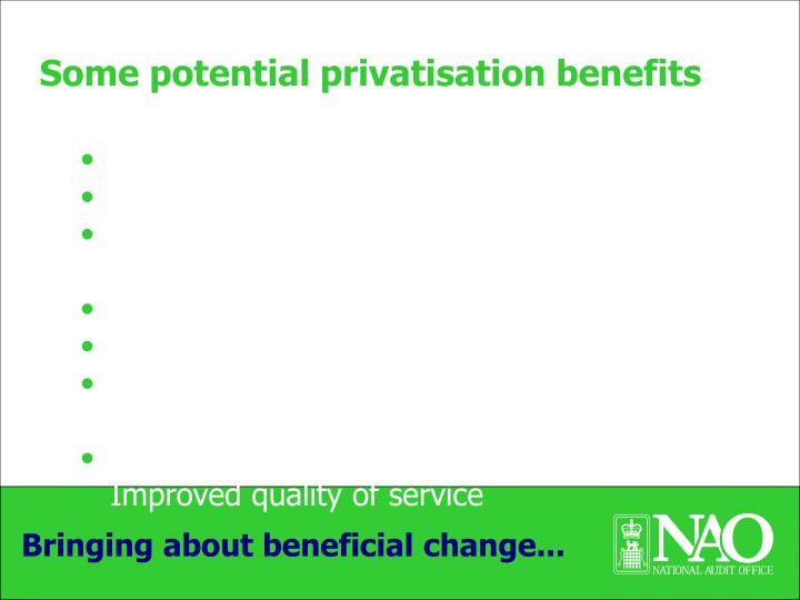 Some potential privatisation benefits