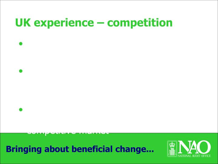 UK experience – competition
