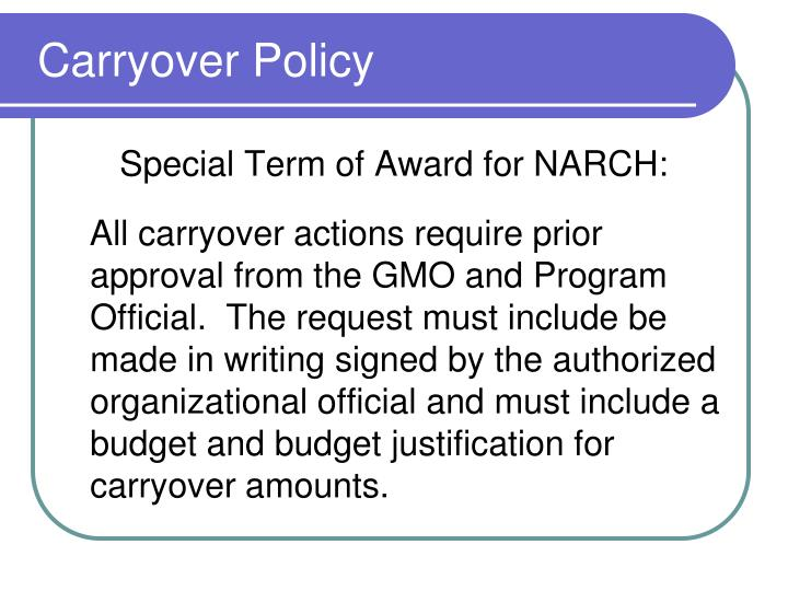 Carryover Policy