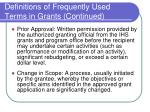 definitions of frequently used terms in grants continued