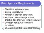 prior approval requirements