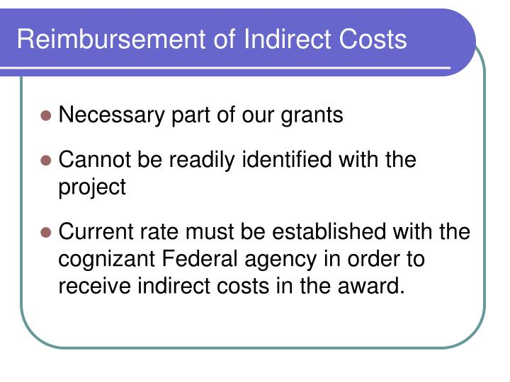 Reimbursement of Indirect Costs