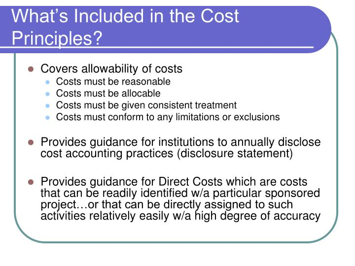 What's Included in the Cost Principles?