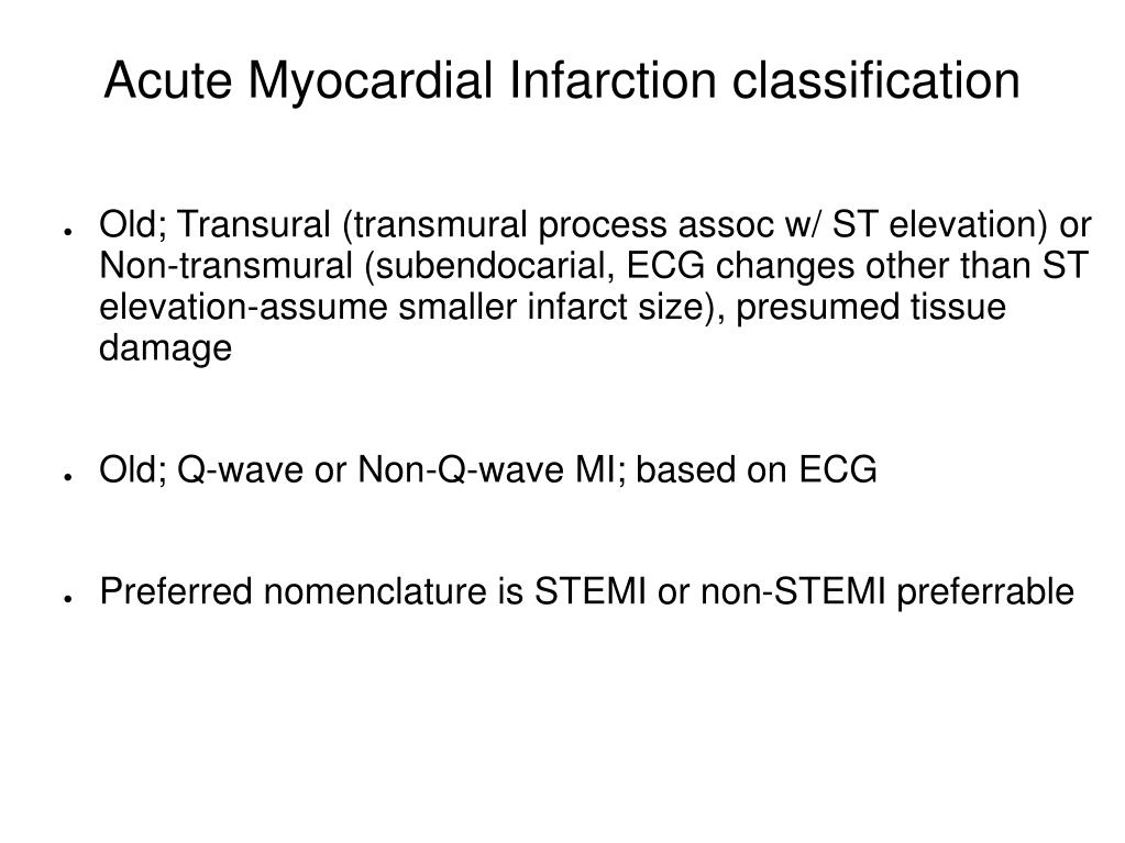 Acute Myocardial Infarction classification