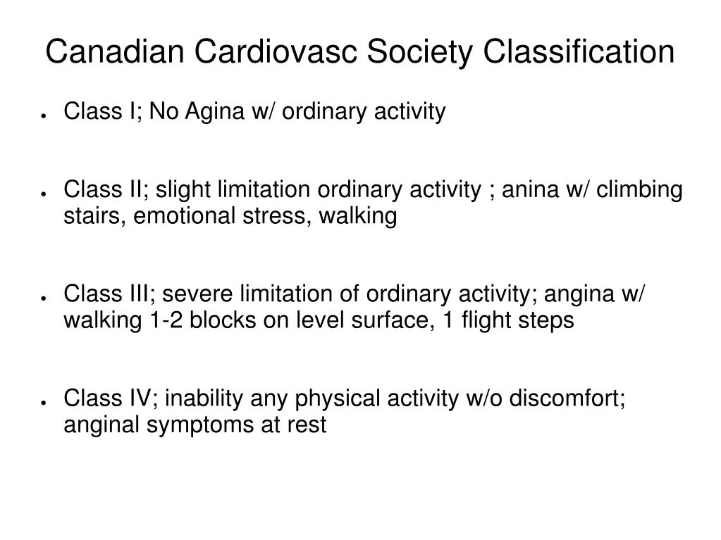 Canadian Cardiovasc Society Classification