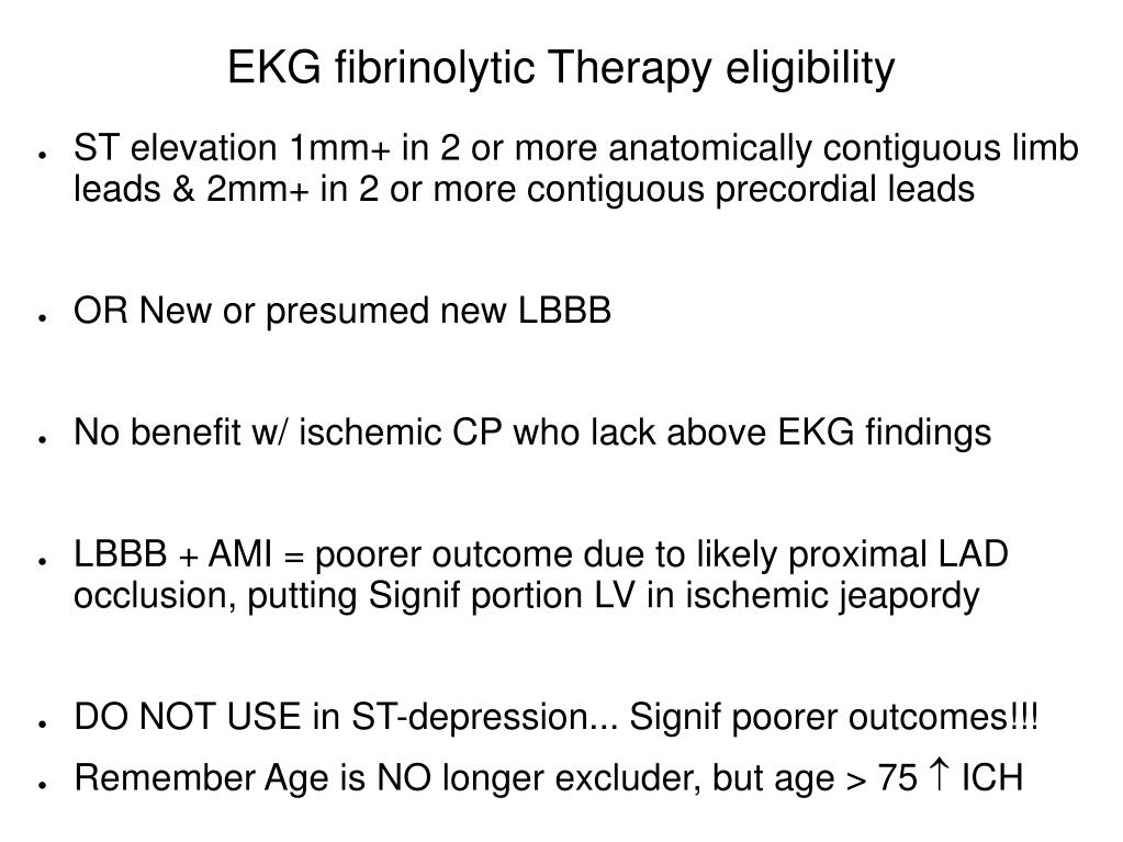 EKG fibrinolytic Therapy eligibility