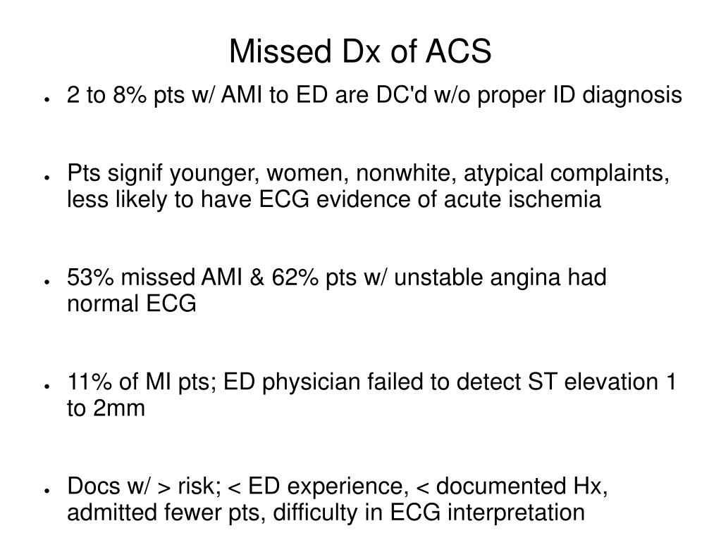Missed Dx of ACS